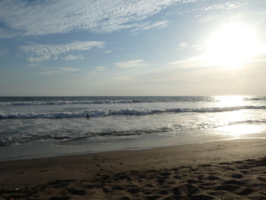 baignade dans les vagues