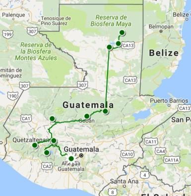 carte parcours Guatemala