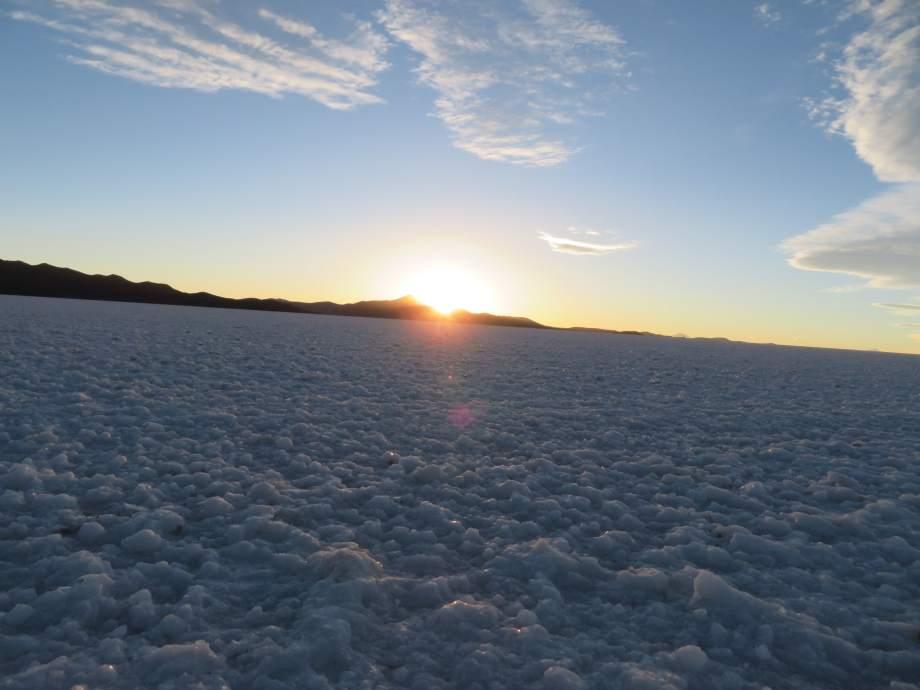 sunset au Salar d'Uyuni