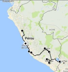 carte itinéraire Pérou